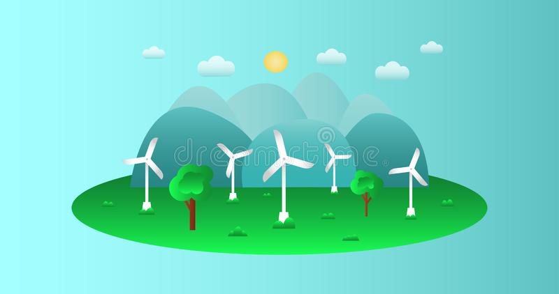 Green eco concept - wind energy. vector illustration