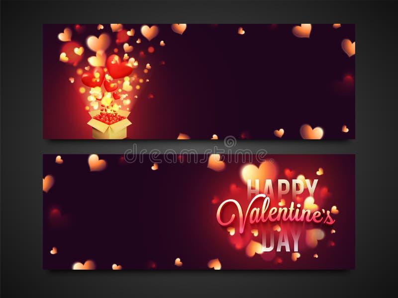Web header or banner for Valentine`s Day. Website header or banner set with glowing hearts decoration for Happy Valentine`s Day celebration vector illustration