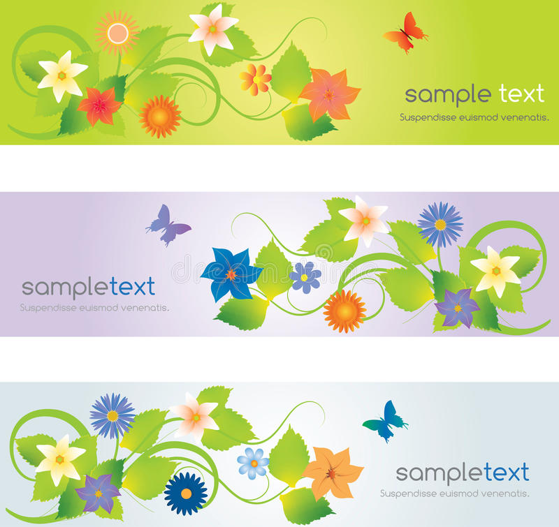 Download Web headers with flowers stock vector. Illustration of clean - 26908705