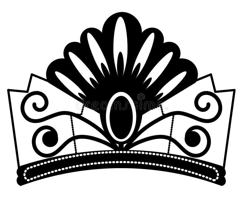 web het Symbool van de diadeemschets op witte achtergrond wordt ge?soleerd die Vectorjuwelen in In Stijl Tiara Crown schetst elem royalty-vrije illustratie