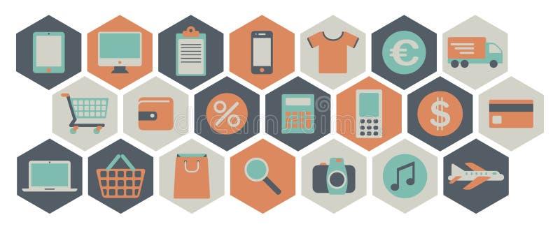 Web het winkelen pictogrammen stock illustratie