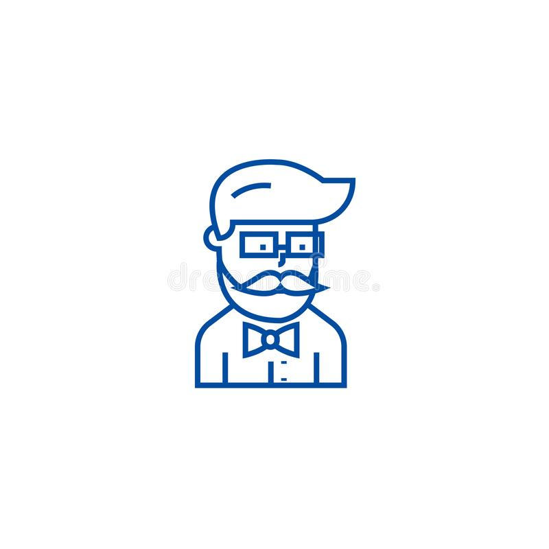 Hipster beard man avatar  line icon concept. Hipster beard man avatar  flat  vector symbol, sign, outline illustration. stock illustration