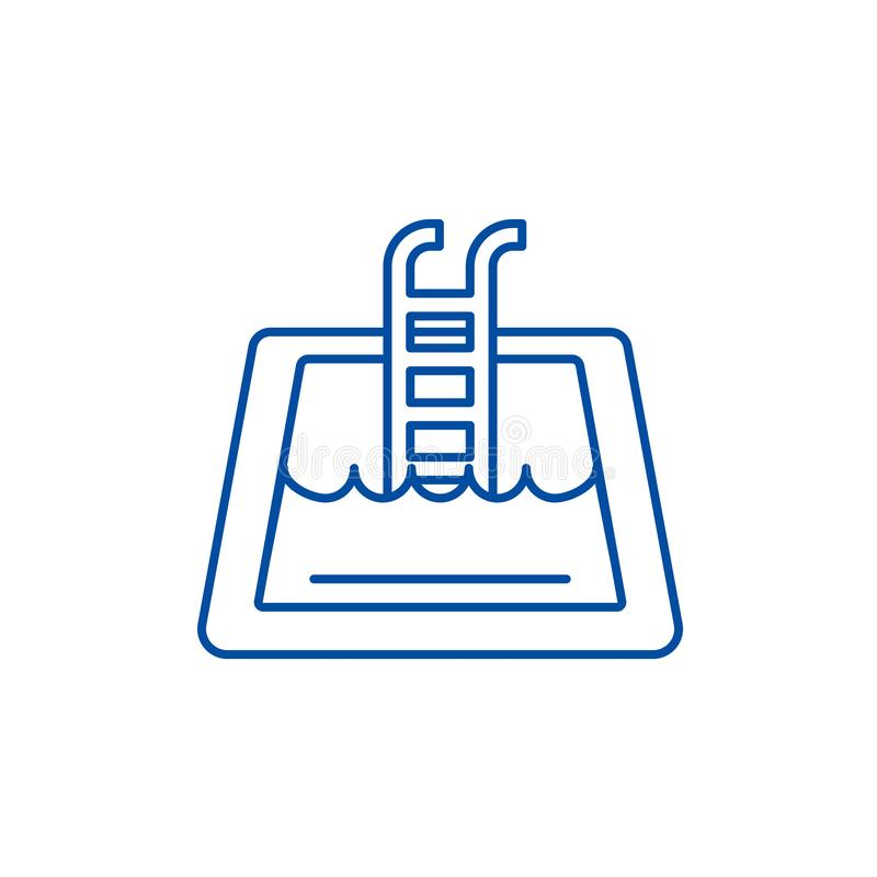 Home pool line icon concept. Home pool flat  vector symbol, sign, outline illustration. royalty free illustration