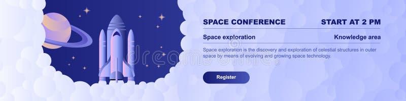 Web horizontal do molde da bandeira da conferência da exploração do espaço ilustração royalty free