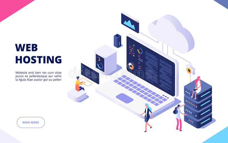 Web hosting concept. Cloud computing online database technology security computer web data center server isometric stock illustration