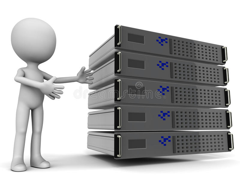 Web hosting. Concept, little 3d man pointing to a cluster of dedicated, shared or virtual private servers