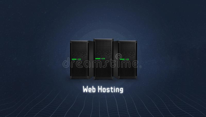 Web hosting concept with three servers and web hosting text below vector illustration