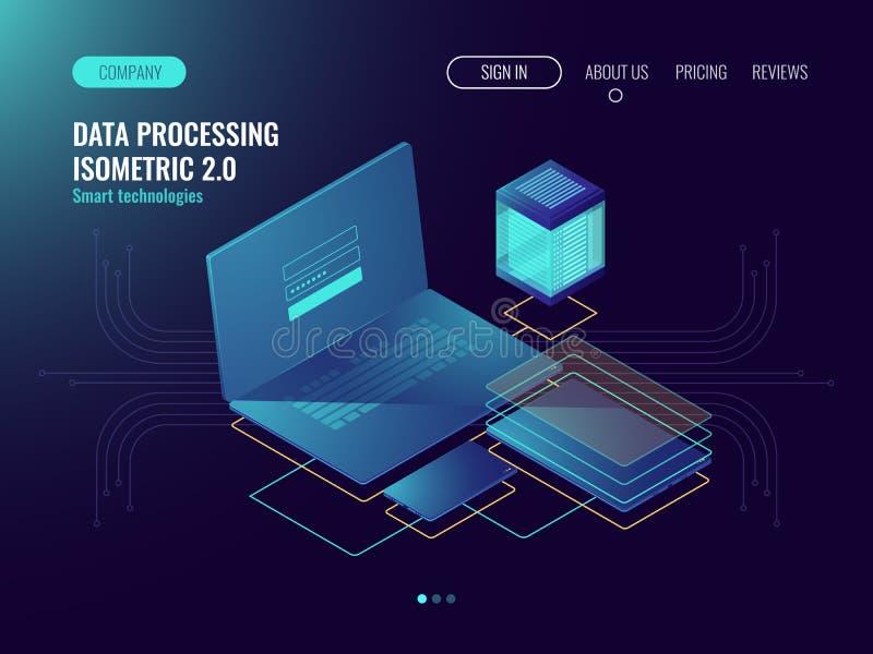 Web hosting, concepto del laboratorio del desarrollo de la interfaz de usuario, almacenamiento de datos en los iconos de la nube, ilustración del vector