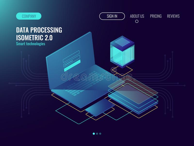 Web hosting, concetto del laboratorio di sviluppo dell'interfaccia utente, archiviazione di dati nelle icone della nuvola, della  illustrazione vettoriale