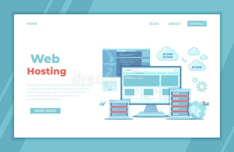 Web Hosting, Data Security, Ð¡loud computing storage, Information processing, Database, Network connection. Hosting servers, vector illustration