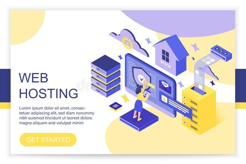 Web-Hosting, Datenverarbeitungs, großer Daten-, Internet- und blockchain Serverkonzept 3d isometrischer infographics Vektor des W stock abbildung