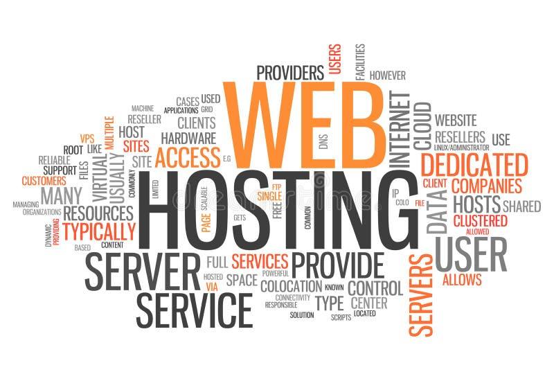 Web hosting della nuvola di parola illustrazione vettoriale