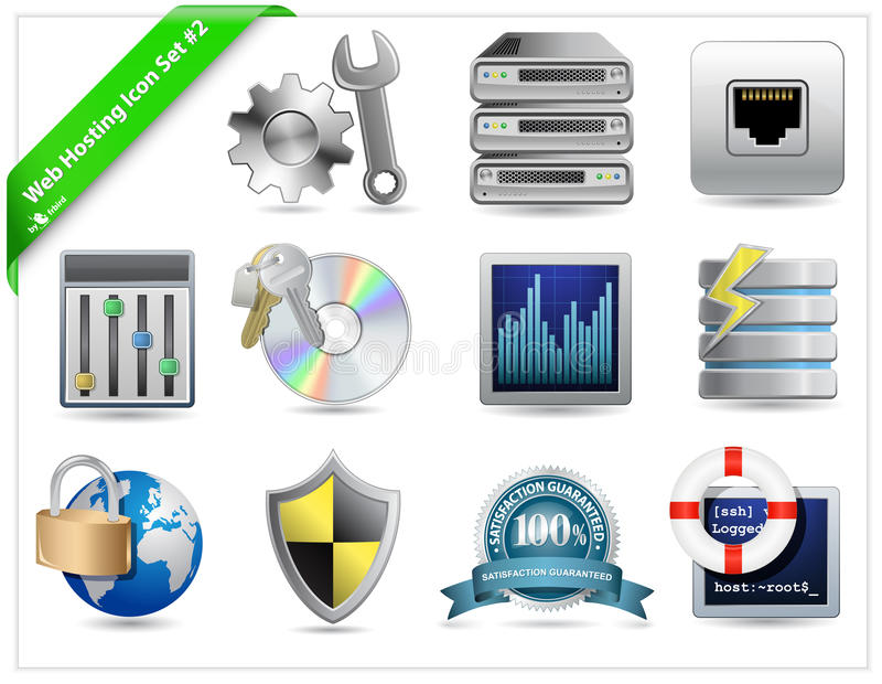 Download Web Hosting Icons stock vector. Illustration of internet - 12740095