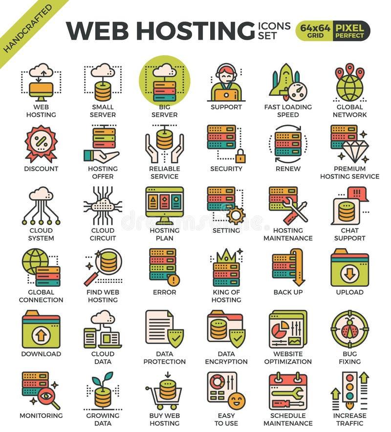 Web Hosting ikony ilustracji