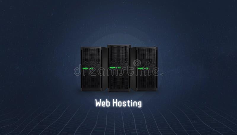 Web-Hosting-Konzept mit drei Servern und Web-Hosting-Text unten vektor abbildung
