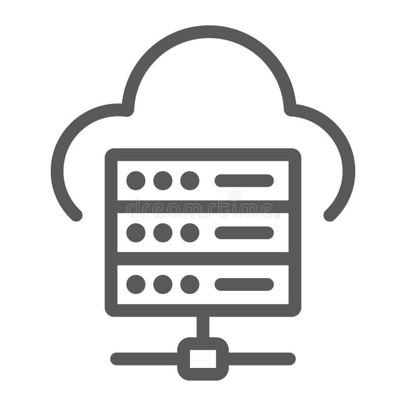 Web-Hosting-Linie Ikone, Daten und Analytik stock abbildung