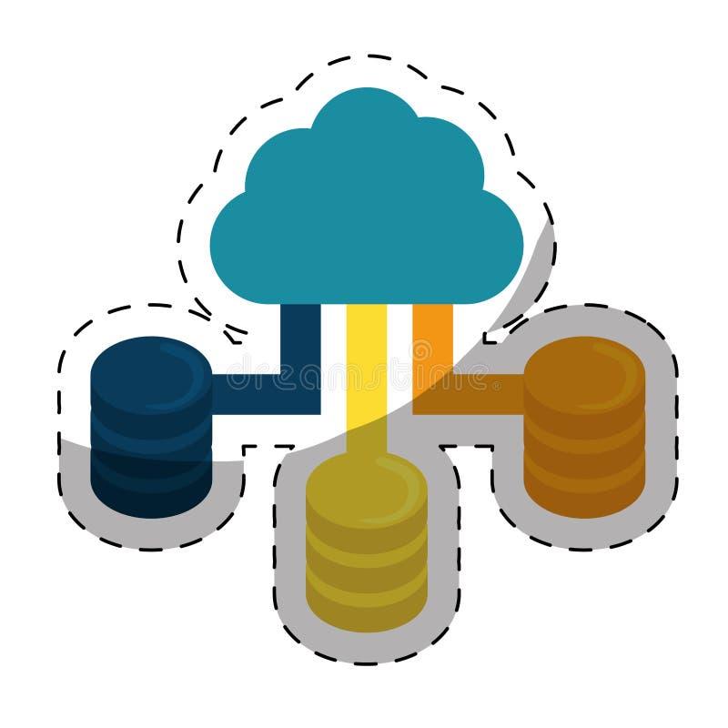 web hosting lub dane centrum ikon powiązany wizerunek ilustracji