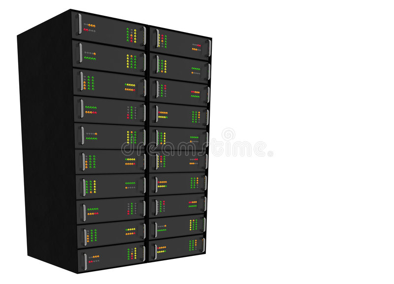 Web Hosting Server Rack on white vector illustration