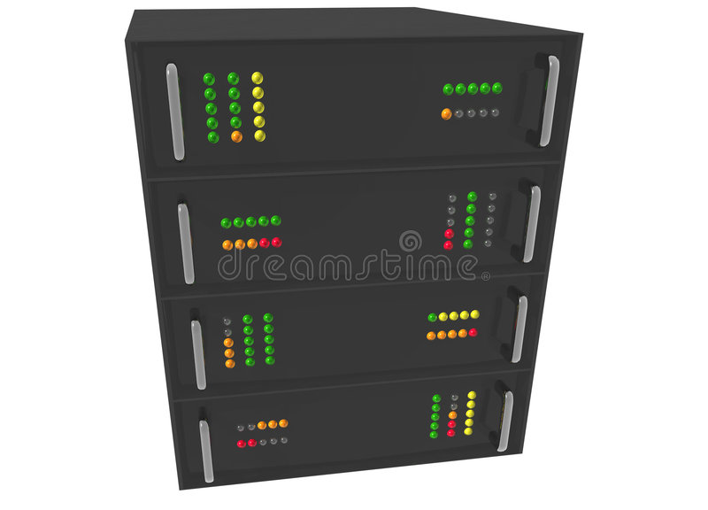 Web Hosting Server Rack on white. Small Web Hosting Server Rack on white stock illustration
