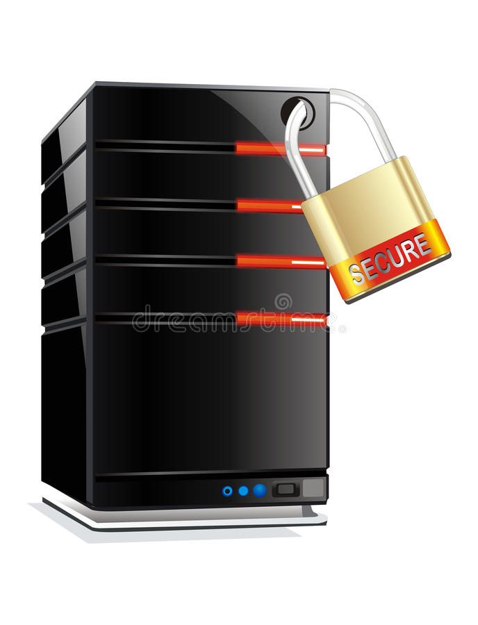 Web hosting server security. White isolated web hosting server security