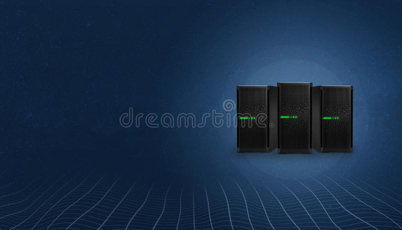Web hosting servers. Copy space on left side for text royalty free illustration
