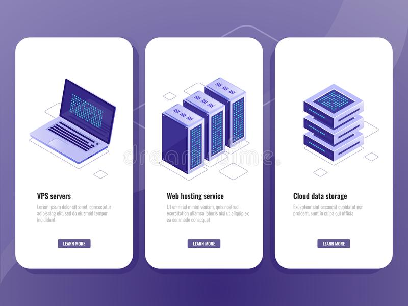 Web hosting service isometric icon, vps server room, data warehouse cloud storage, laptop with big data processing royalty free illustration