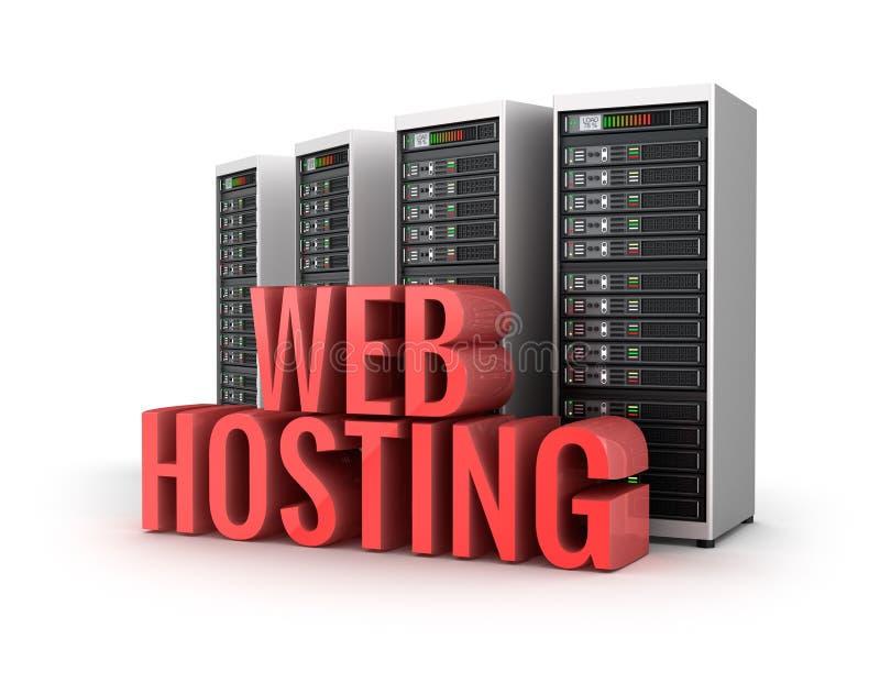 Web Hosting serwerów pojęcie nad bielem royalty ilustracja