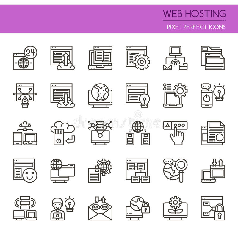 Web Hosting. Thin Line and Pixel Perfect Icons royalty free illustration