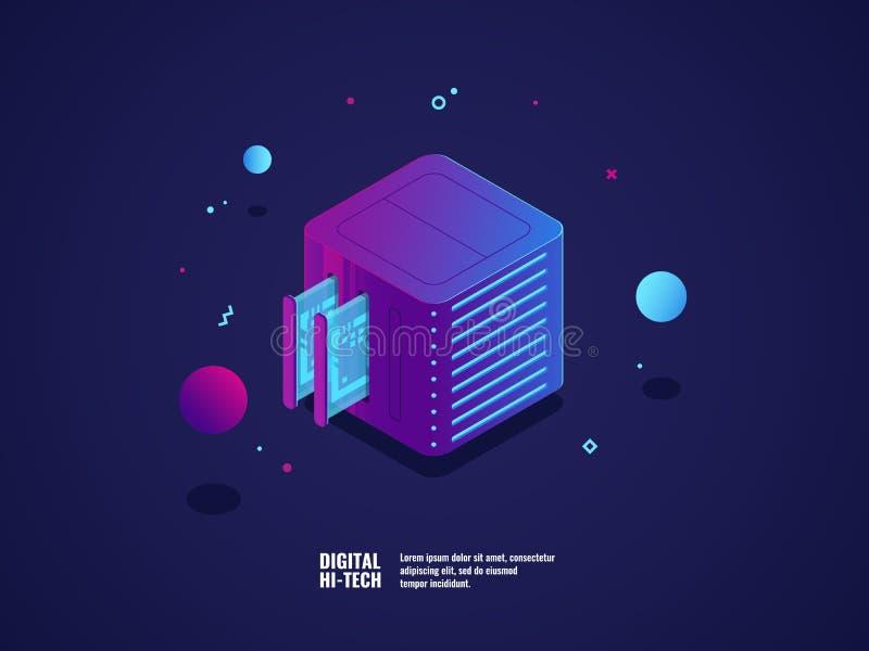 Web-Hosting- und Virtual- Serverraumikone, datacenter und Datenbank bewölken Lagerung, Steckplatz, futuristische Technologie vektor abbildung