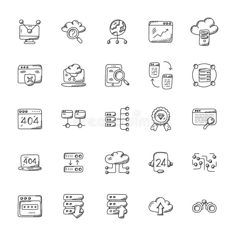 Web Hosting Wektorowe ikony Ustawiać ilustracja wektor