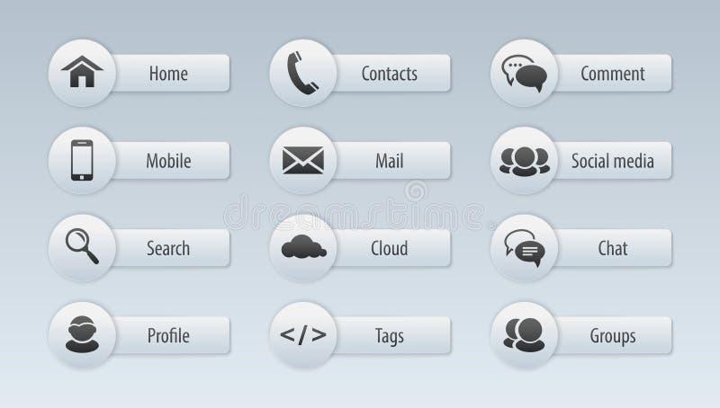 Web, icônes de communication : Internet illustration libre de droits