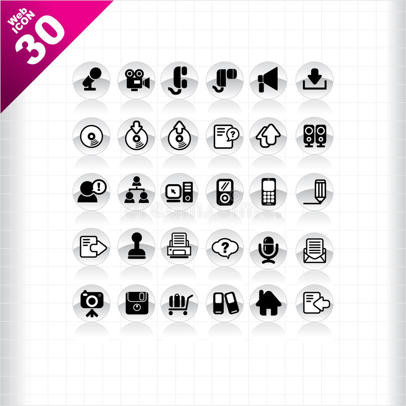 Download Web icon 30 stock vector. Image of information, black - 16794464
