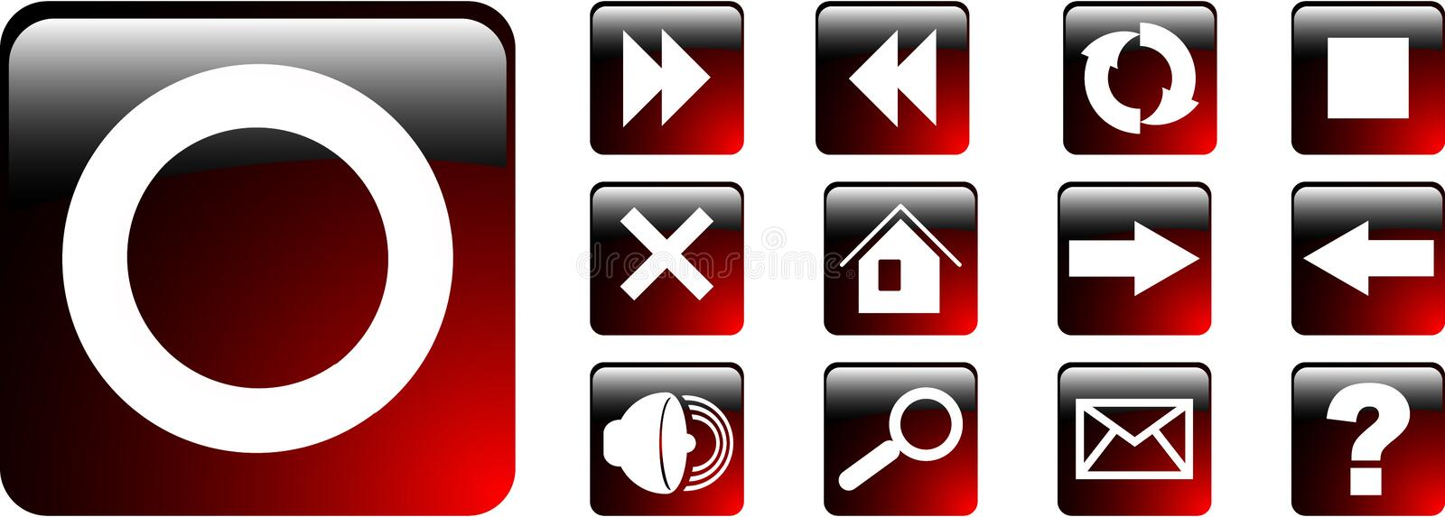 Web icon. The set red web icon vector illustration