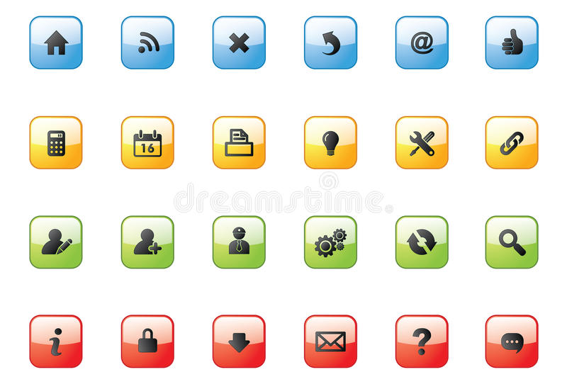 Web Icon Buttons_square Stock Images
