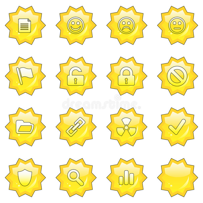 Free Web Icon Set 2 (16 Star Butto Stock Images - 4719984