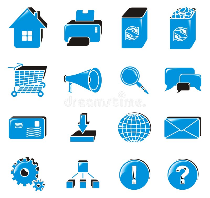 Web icon set. Collection of web icons; blue royalty free illustration