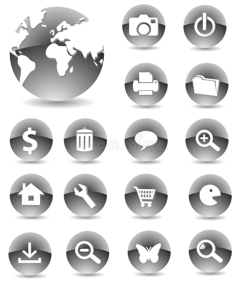 Download Web Icons 01 black stock vector. Illustration of magnifying - 5375131