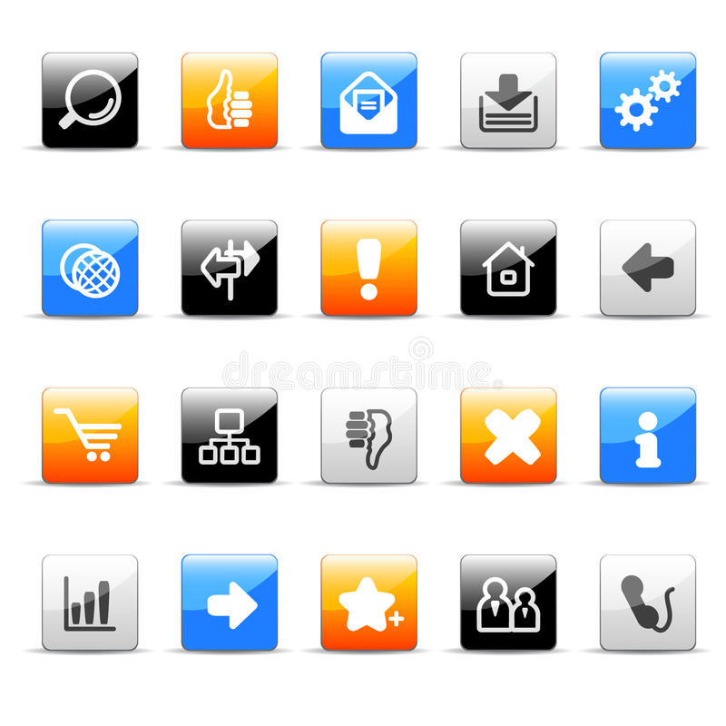 Download Web icons stock vector. Image of forward, glossy, download - 10496290