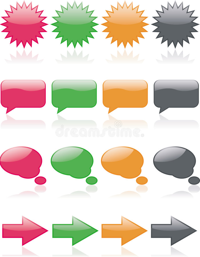 Web Icons. Colorful, glossy web icons; includes thought bubbles