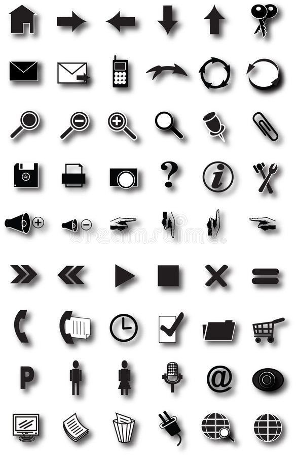 Web icons. 20 black icons for the website navigation
