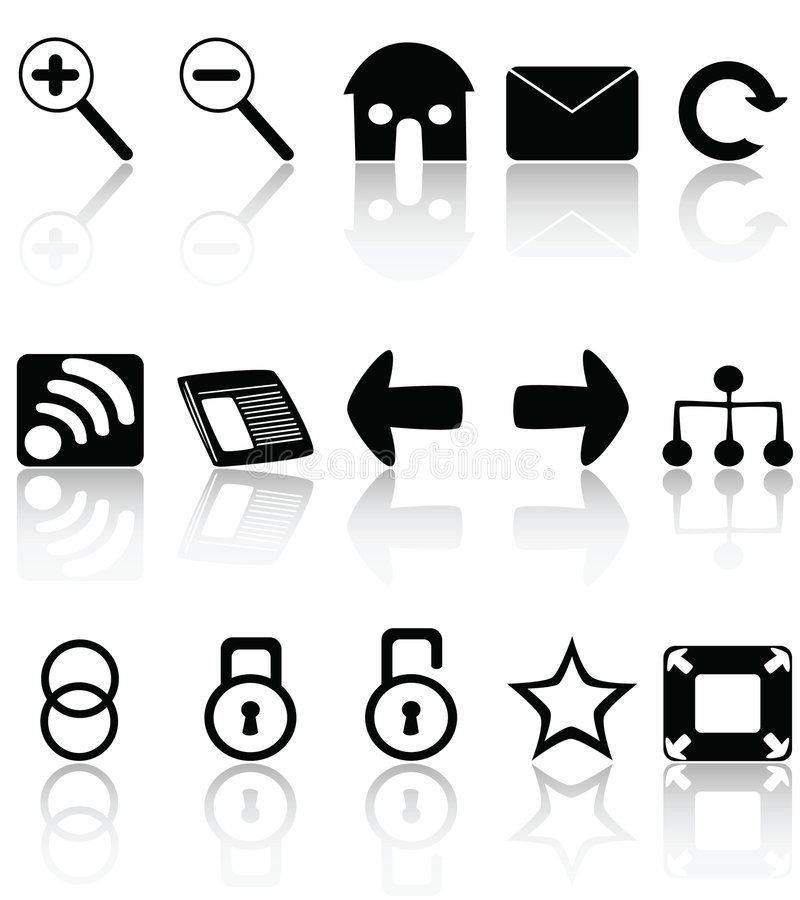 Web icons. Vector collection of web icons, with Web 2.0 surface reflection stock illustration