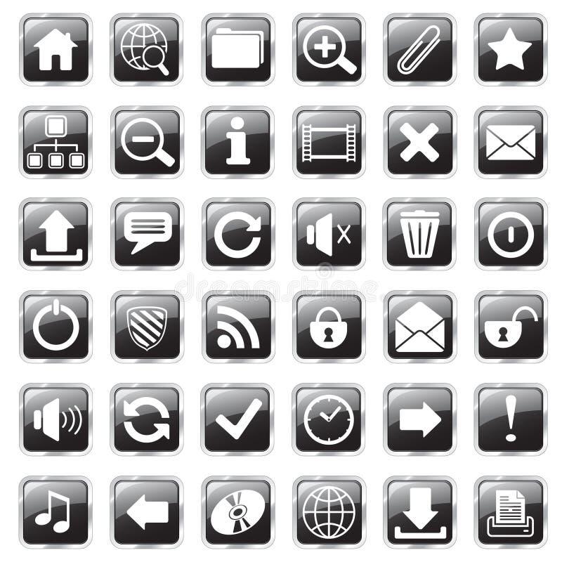 Web icons black. Set of glossy square web icons vector illustration