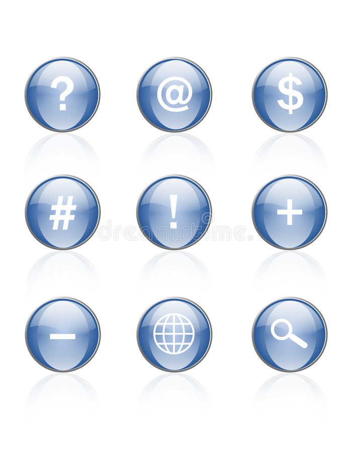 Web icons blue aqua royalty free illustration