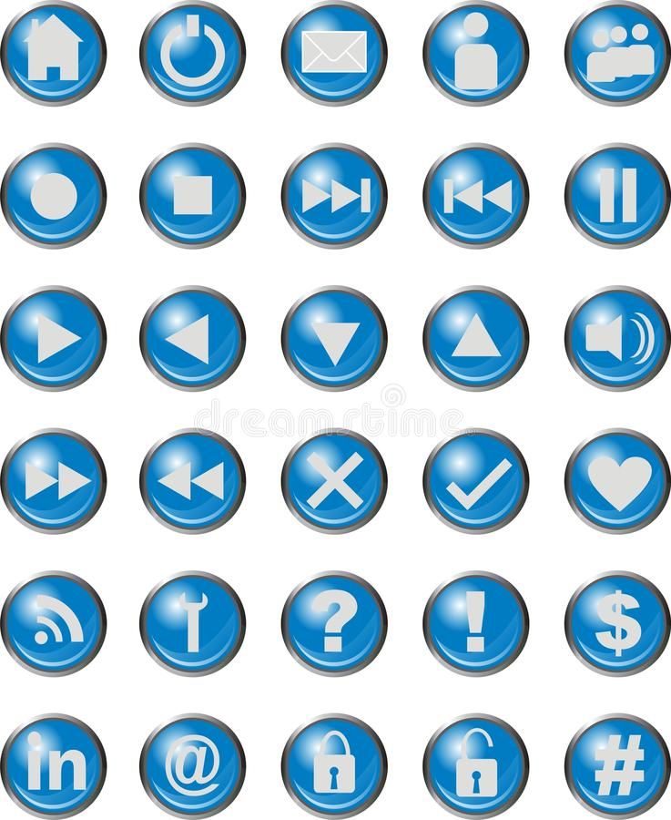 Download Web Icons Blue stock vector. Image of question, button - 32576035