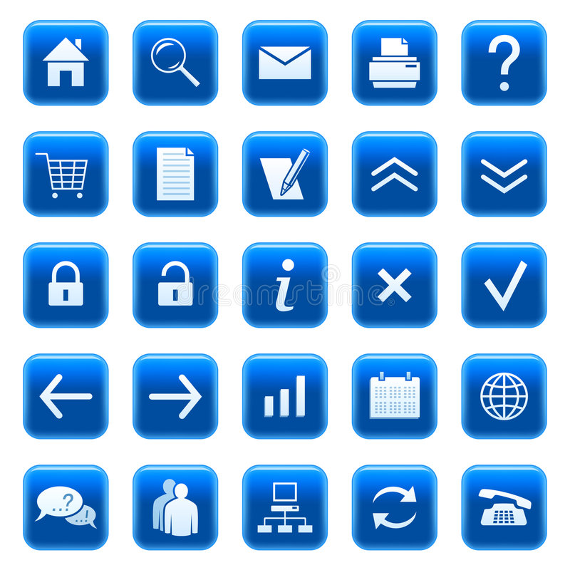 Web icons / buttons. Set of blue vector buttons with web icons royalty free illustration