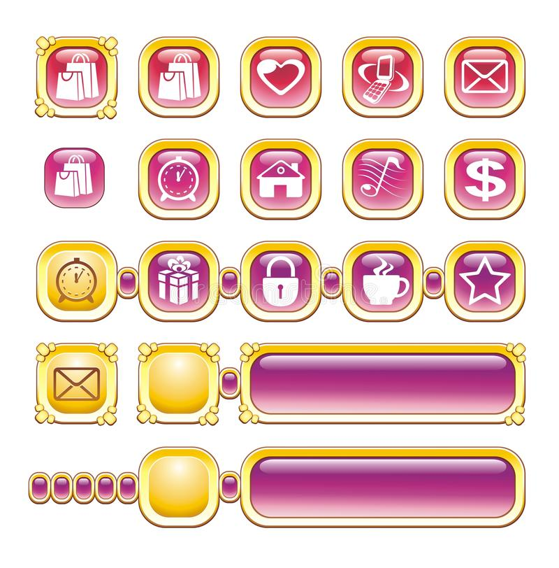 WEB ICONS, BUTTONS, GOLD, PINK royalty free illustration