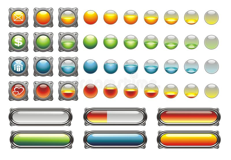 WEB ICONS, BUTTONS, LOAD stock illustration