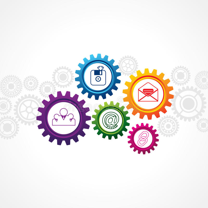 Web icons in cog wheel. Illustration of web icons in cog wheel vector illustration