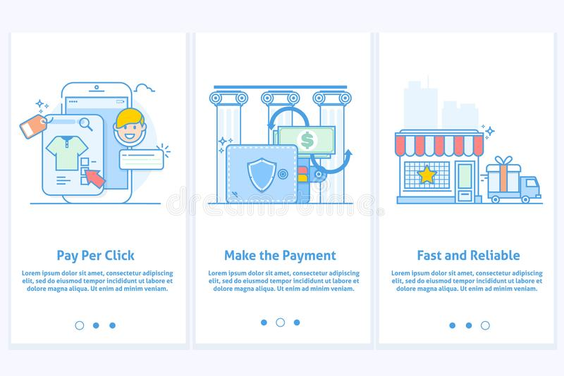Web icons for e-commerce and Internet banking. Template for mobile app and web site. Modern blue interface UX UI GUI royalty free illustration