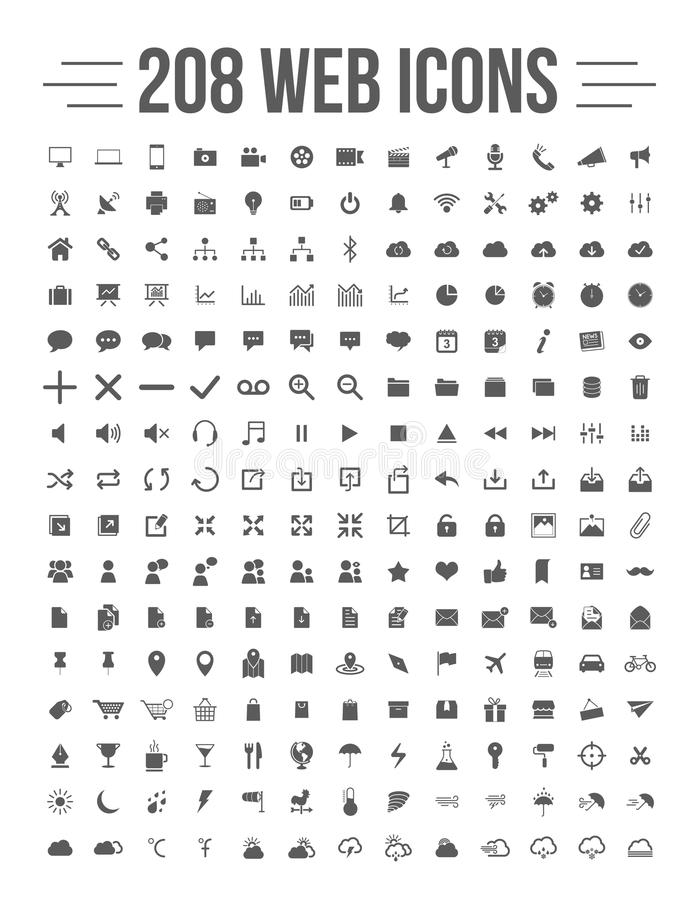 Web Icons. Easy editable 208 solid media and communication icons